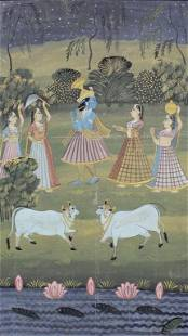 Lord Krishna with wives and Nandi