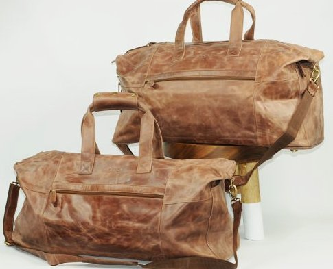 (lot of 2) Genuine Leather Duffel Bags Vintage Style