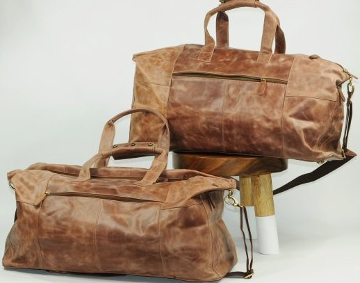 (lot of 2) Genuine Leather Duffel Bags Vintage Style - 2