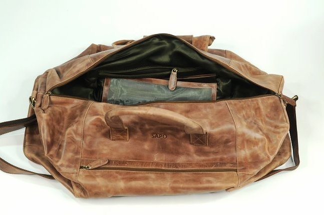 (lot of 2) Genuine Leather Duffel Bags Vintage Style - 4