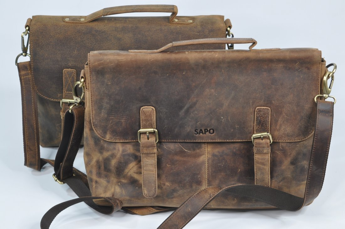 (lot of 2) Genuine Leather Men's Women's Briefcase Bags
