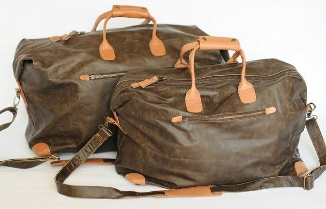 (lot of 2) Genuine Leather Vintage Looking Duffel Bags