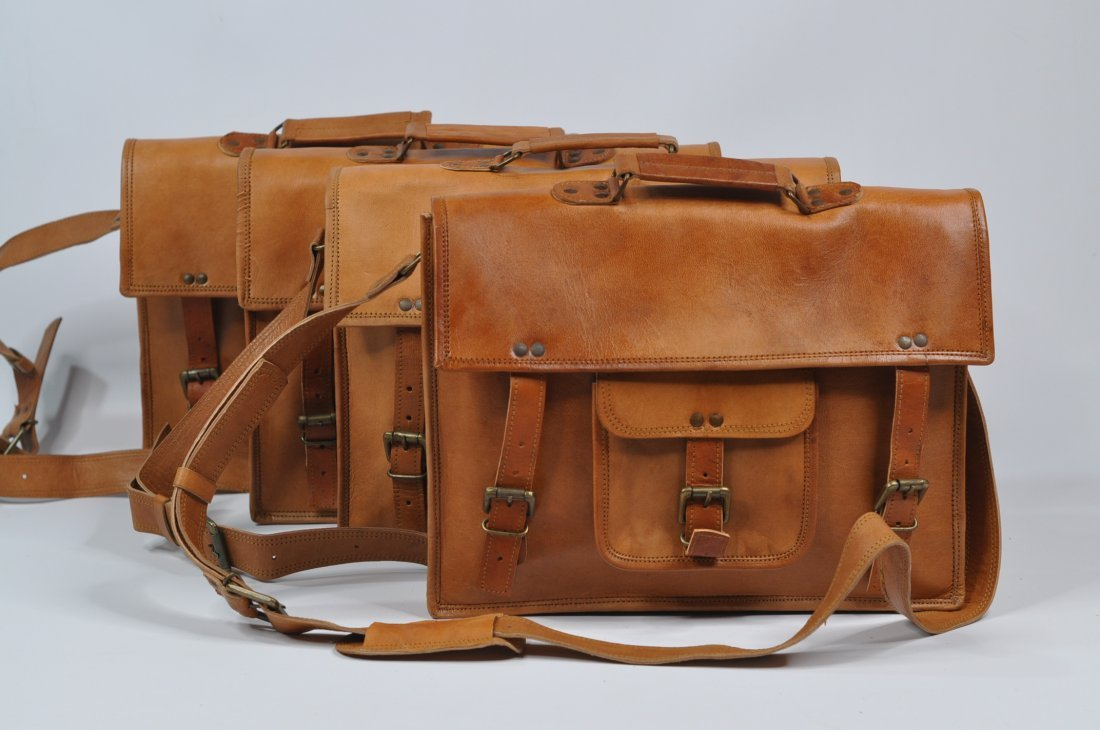 (lot of 4) Genuine Leather Briefcase Vintage Style Bag