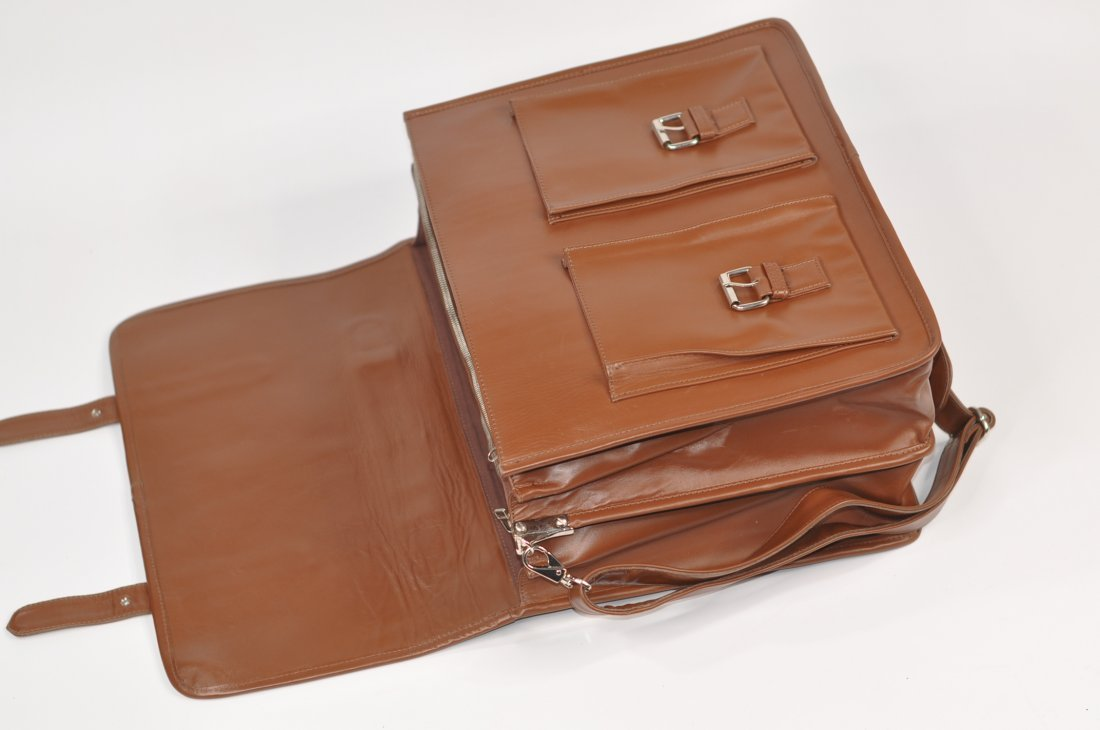 (lot of 2) Genuine Leather Men's Briefcase High Class - 3