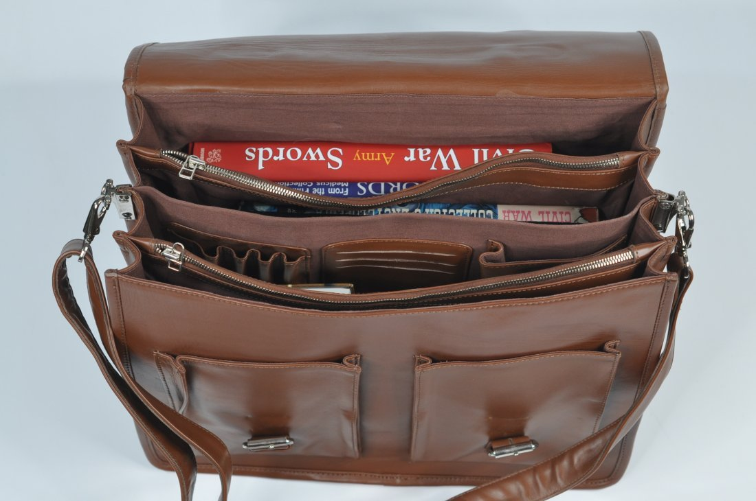 (lot of 2) Genuine Leather Men's Briefcase High Class - 4