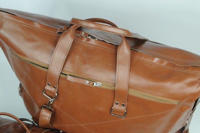 (lot of 2) Genuine Leather Travel Bag Luggage Handmade - 2