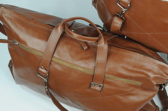 (lot of 2) Genuine Leather Travel Bag Luggage Handmade - 3