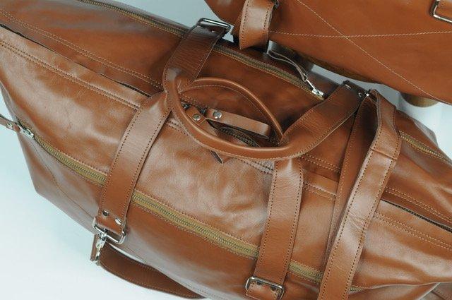 (lot of 2) Real Leather Bag Luggage Handmade Full-Grain - 5