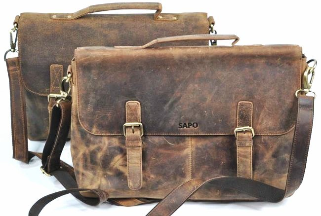 (lot of 2) Real Genius Buffalo Leather Briefcase Bag