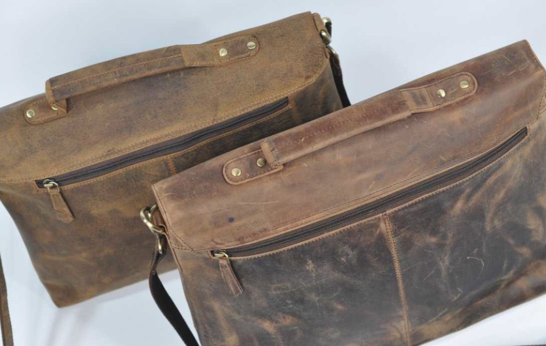 (lot of 2) Real Genius Buffalo Leather Briefcase Bag - 3