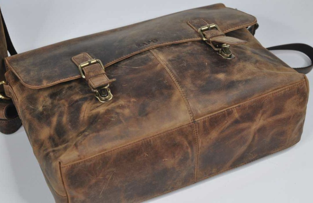 (lot of 2) Real Genius Buffalo Leather Briefcase Bag - 5