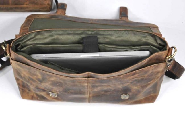(lot of 2) Real Genius Buffalo Leather Briefcase Bag - 7