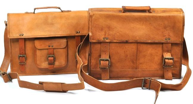 (lot of 2) Genuine Leather Men's Briefcase Bag Handmade