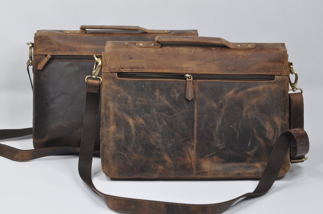 (lot of 2) Real Genius Buffalo Leather Briefcase Bag - 2