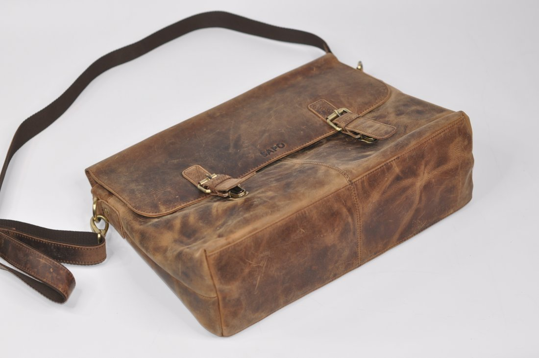 (lot of 2) Real Genius Buffalo Leather Briefcase Bag - 6