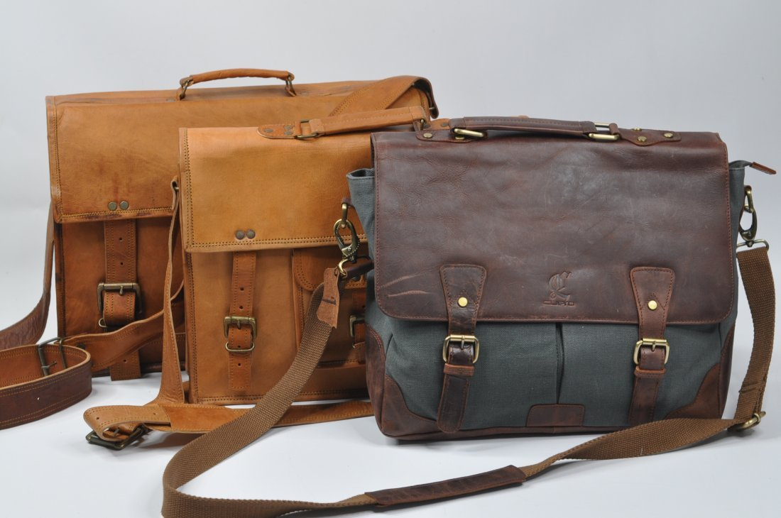 (lot of 3) Genuine Leather Men's Briefcase Bag Handmade