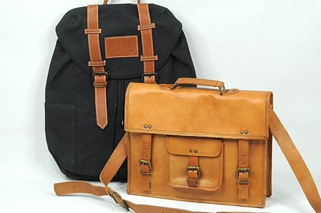 Canvas Backpack Handmade and Leather Briefcase Bag