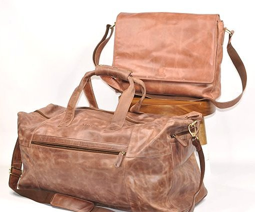 (lot of 2)Genuine Leather Duffel Bags Vintage Briefcase