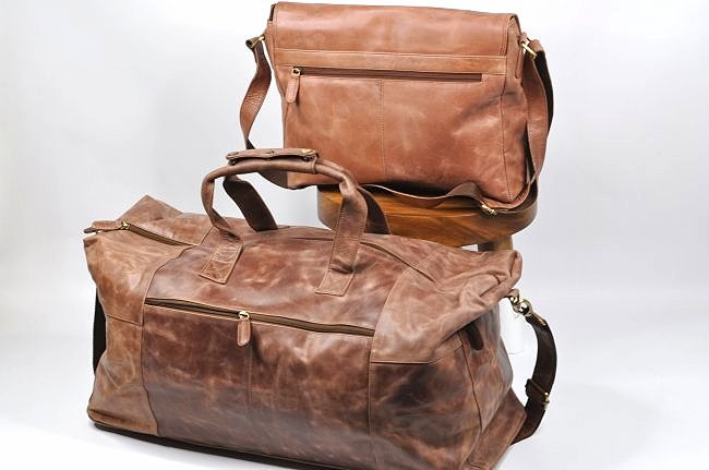 (lot of 2)Genuine Leather Duffel Bags Vintage Briefcase - 2