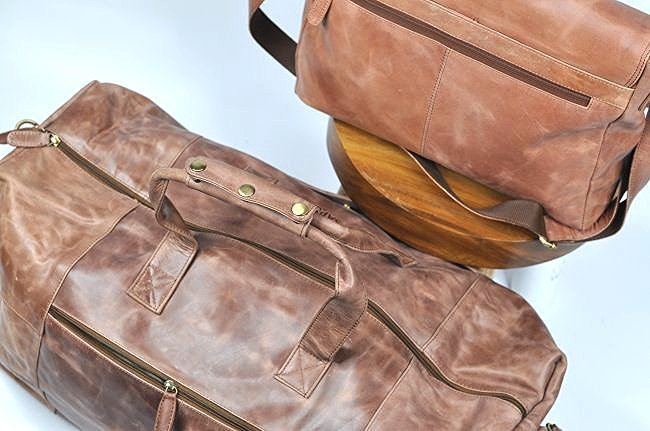 (lot of 2)Genuine Leather Duffel Bags Vintage Briefcase - 3