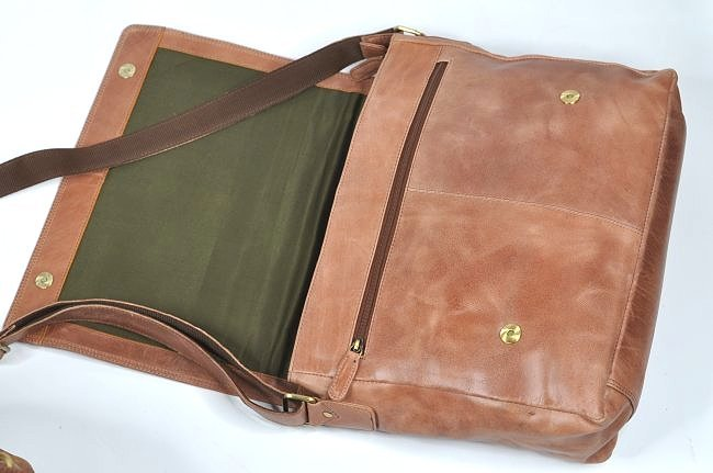 (lot of 2)Genuine Leather Duffel Bags Vintage Briefcase - 5