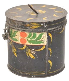 19th C. Pennsylvania Toleware Sugar Box Canister - 2