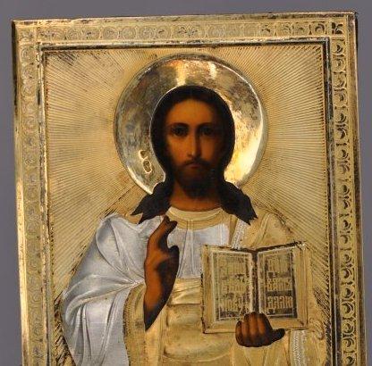 Russian Icon of Christ Pantocrator Silver Oklad - 2
