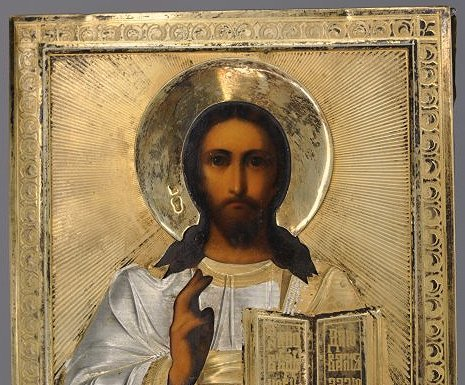 Russian Icon of Christ Pantocrator Silver Oklad - 6