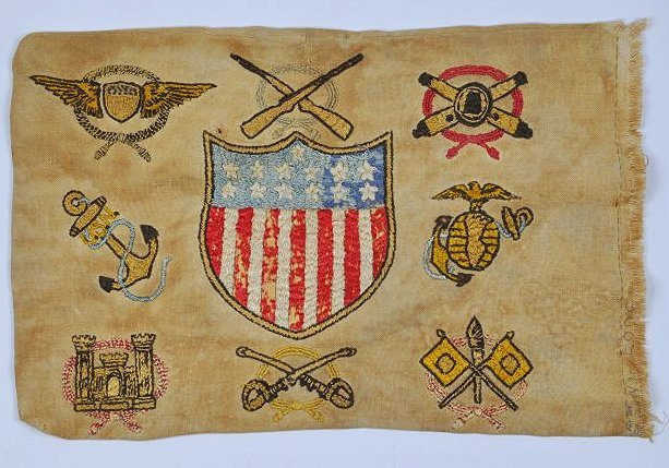 Antique Embroidered Patriotic Banner Pillow Civil War