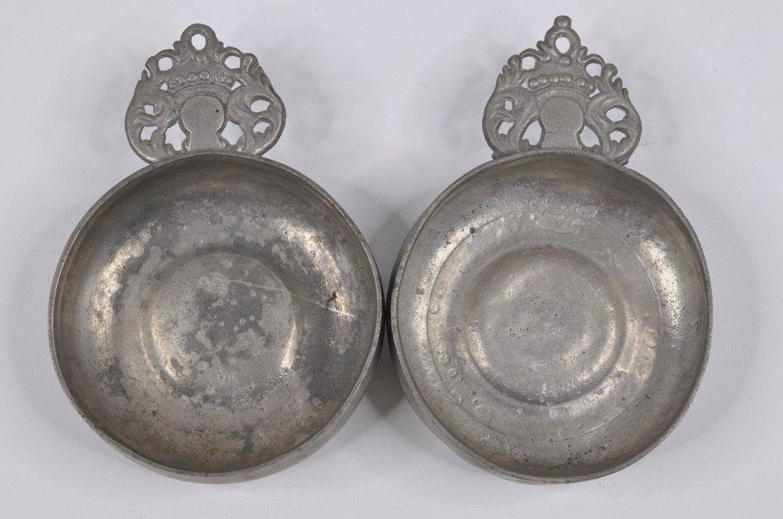 18th C Two crown handle pewter porringers Boston