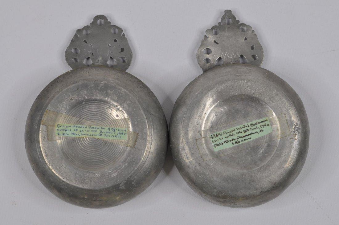 18th C Two crown handle pewter porringers Boston - 2