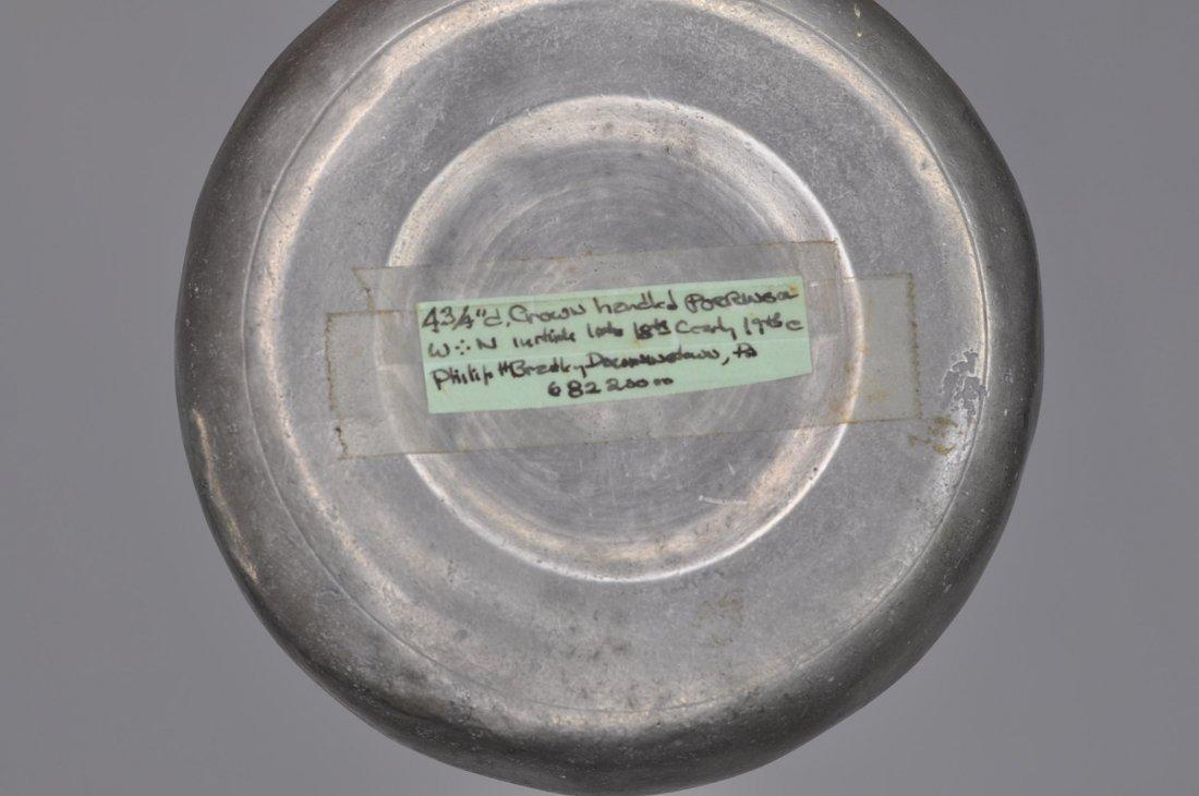 18th C Two crown handle pewter porringers Boston - 6