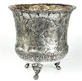 Silver Persian Vase .900 Depicting The Shahnameh