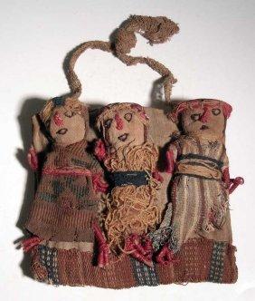 A trio of Pre-Columbiann textile dolls, Ex Museum