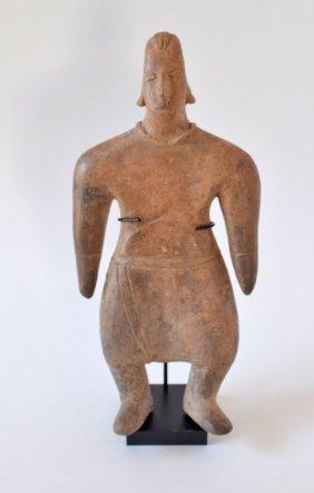 """9 1/4"""" Solid Clay Male Figure. Colima. MX."""
