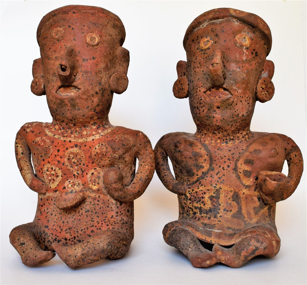 "Nayarit Pottery Seated Male and Female Couple - 11 1/2"""