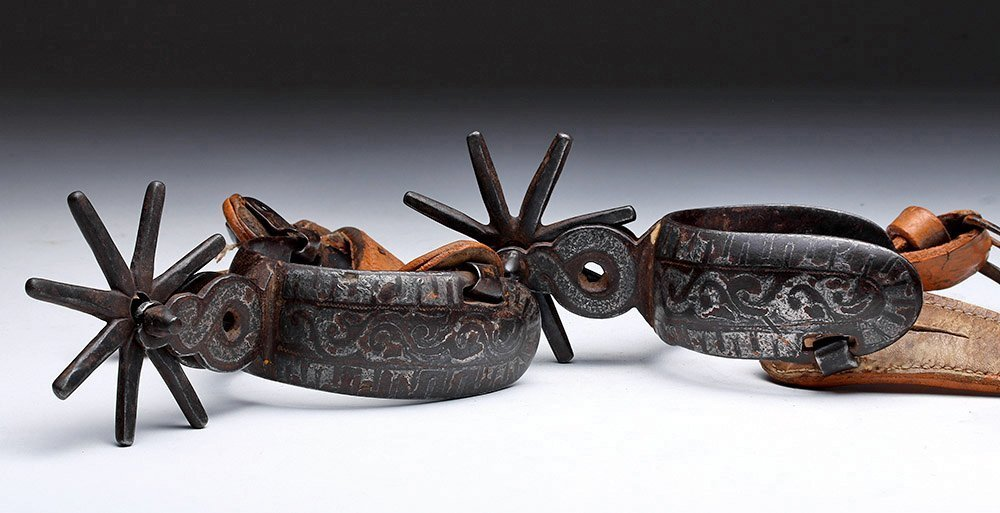 19th C. Mexican Spurs, Iron / Silver, ex-Historia