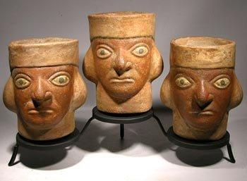 Very Rare Matched Set of Moche Portrait Vessels
