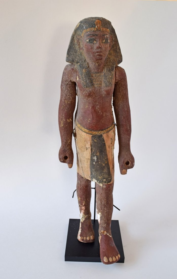 Ancient Egyptian Standing Painted Gesso over wood Male