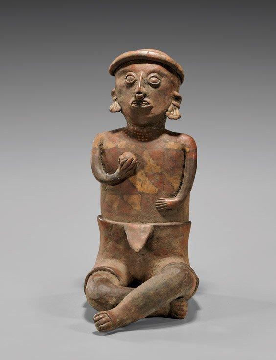 "Large Nayarit Male Figure with Ball, 13 1/2"""