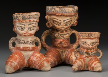 Three Nicaraguan Polychrome Figural Vessels