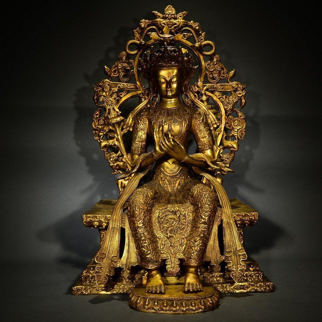 A Large Chinese Gilded Bronze Buddha Figure