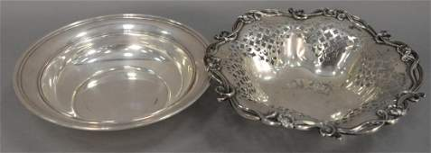Two sterling silver bowls, one is reticulated. dia.