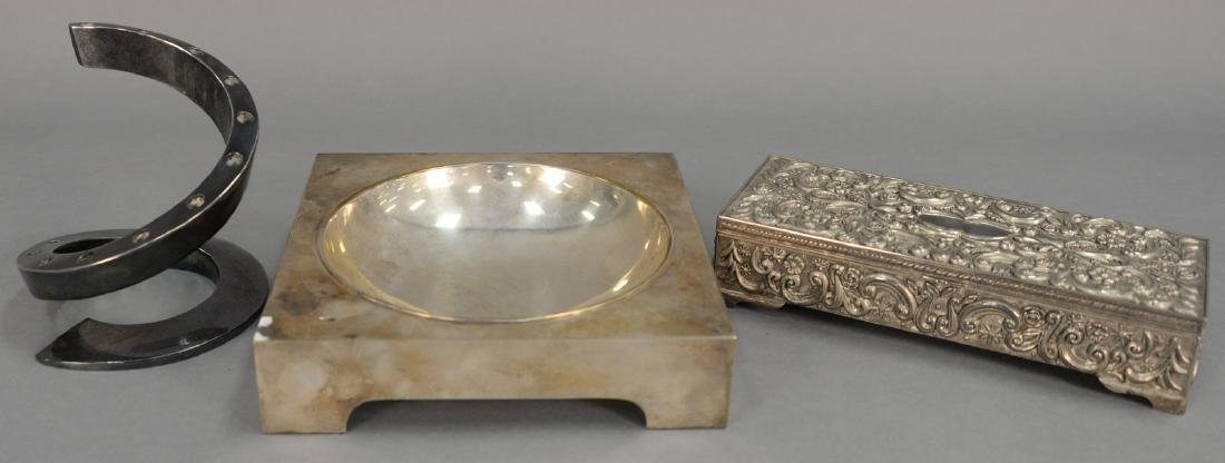 Three piece group including Christian Dior silver dish