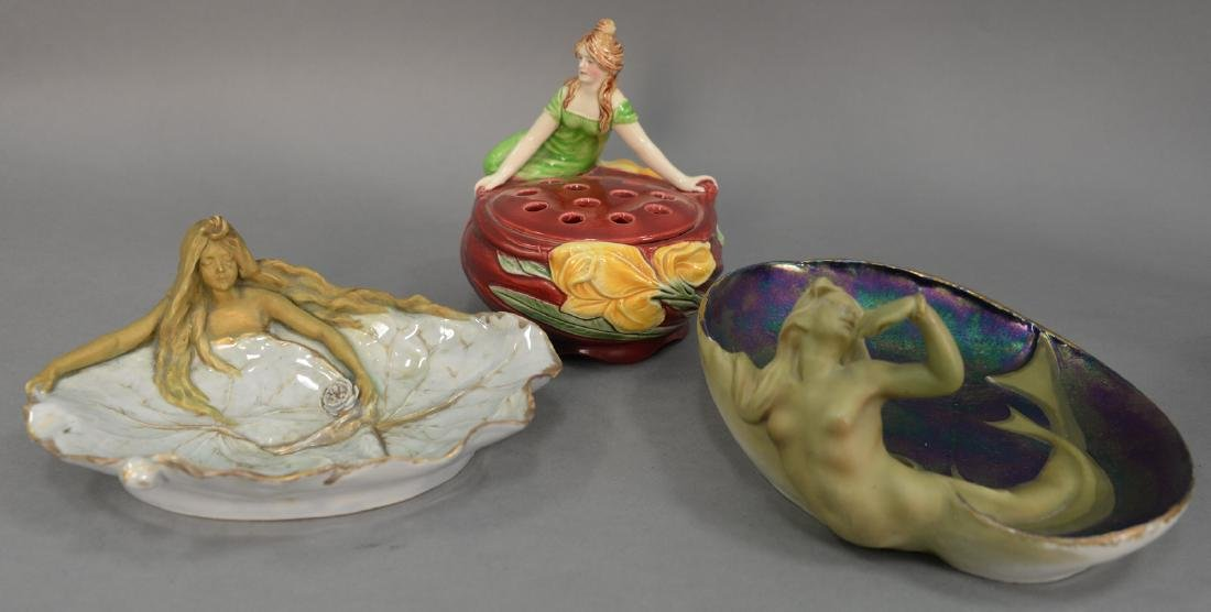 Three Art Nouveau dishes including an Amphora Turn Wein