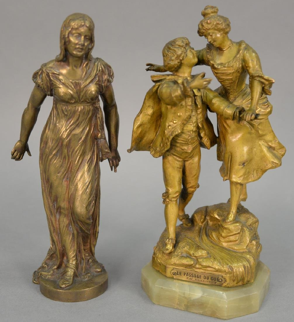 "Two figured bronzes including one of two people ""Le"