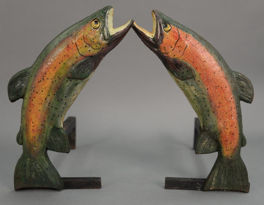 Pair of cast iron fish andirons with nicely painted