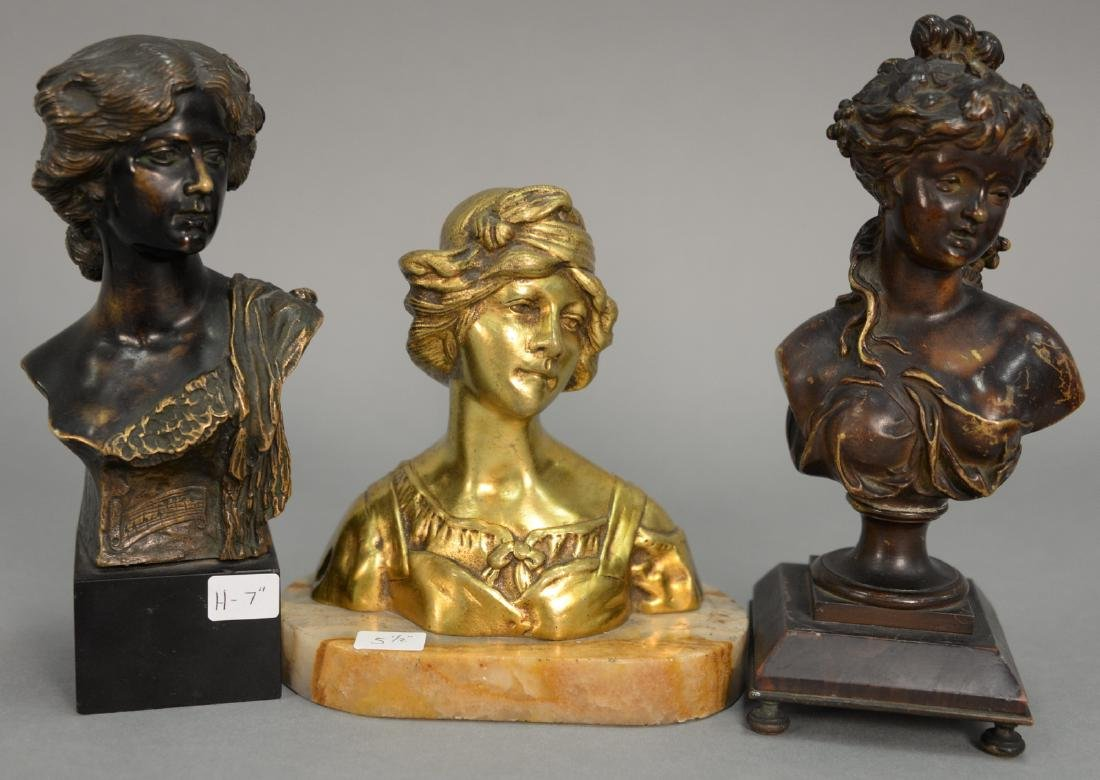 Three bronze busts of women including A. Neri art