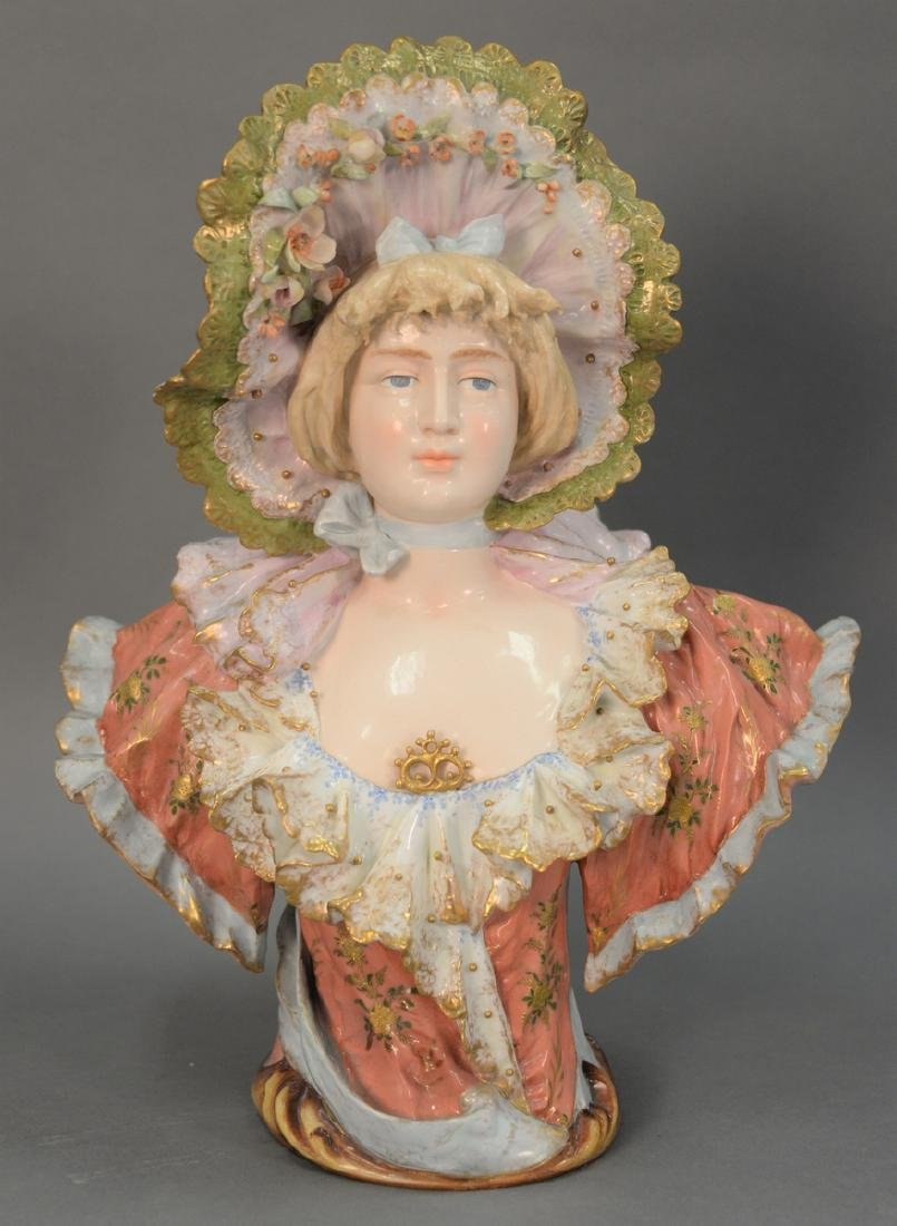 Rudolstadt porcelain hand painted bust of a woman, ht.