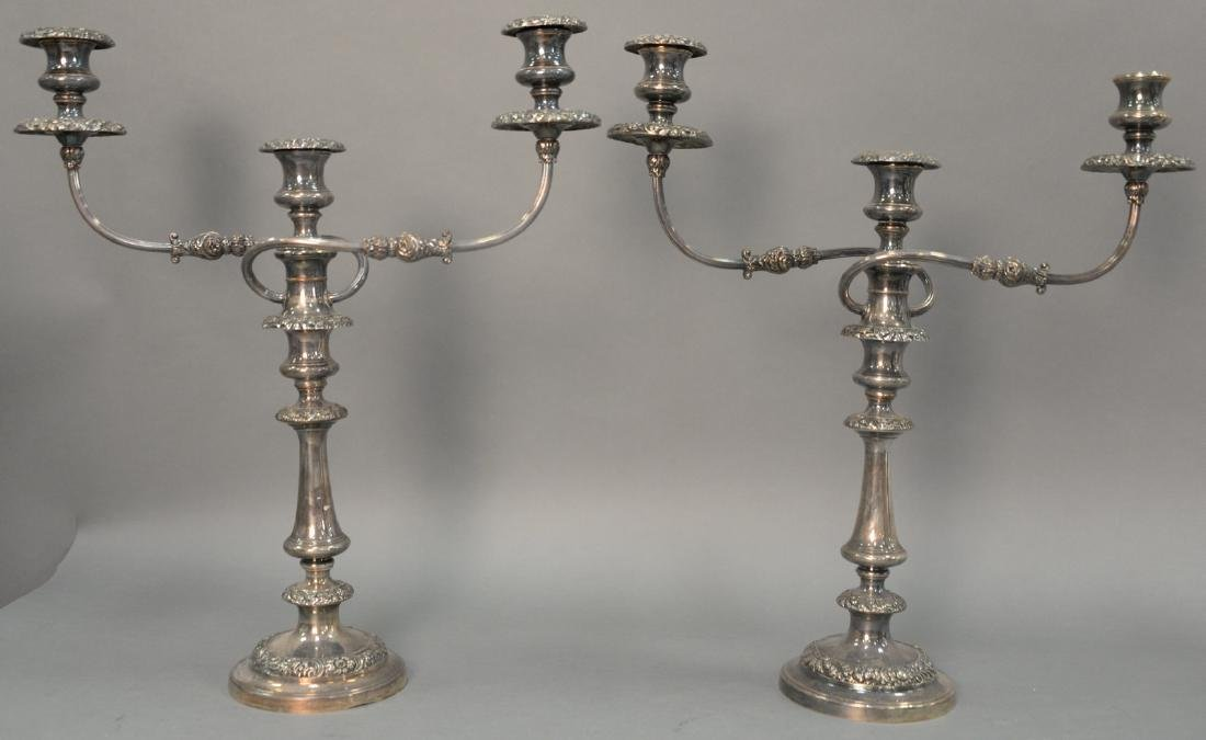 Pair of Sheffield silverplated candelabras. ht. 18in.